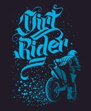 Drirt rider Motocross Freestyle design for apparel.  Stock Image