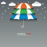 Dritter Stock des Regenschirmes und Regenhintergrund stock abbildung