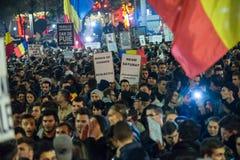 Dritter Tag des Protestes gegen coruption und rumänische Regierung Lizenzfreies Stockfoto
