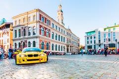 Driva Allstars ståtar på den Hall fyrkanten på Juli 31, 2015, Riga, Lettland Arkivfoton