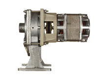 Driva beståndsdelen som består av en elektrisk motor och ett kugghjul som isoleras på Arkivbilder