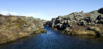 Driva/Ridge för norrAtlanten på Pingvellir eller Thingvellir, Island Arkivfoto