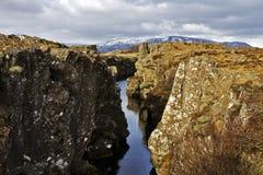 Driva/Ridge för norrAtlanten på Pingvellir eller Thingvellir, Island Royaltyfri Bild