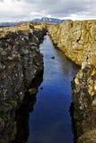 Driva/Ridge för norrAtlanten på Pingvellir eller Thingvellir, Island Arkivfoton