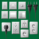Driva uttag som är ljust koppla, och elektriskt plugga uppsättningen stock illustrationer