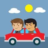 Drive αυτοκίνητο επιχειρηματιών για να εργαστεί στην πόλη Στοκ Εικόνες
