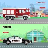 Drive πυροσβεστικών οχημάτων και το περιπολικό της Αστυνομίας διανυσματική απεικόνιση