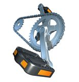 Drive. 3D rendered bike transmission over white background Stock Images