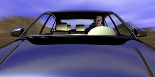 Drive. Man driving in car very fast Royalty Free Stock Image