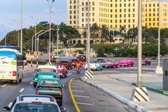 Drive along the Malecon, Havana, Cuba. Evening drive along the Malecon, Havana, Cuba Royalty Free Stock Image
