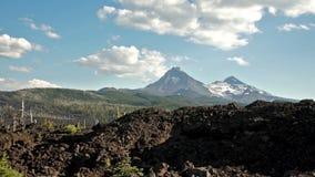 Drive Along McKenzie Pass Three Sisters Cascade Range Ancient Lava Field stock footage