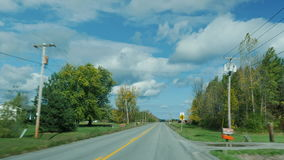 Drive along road typical small American town. Drive along road typical American town stock video footage