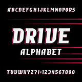 Drive alphabet vector font. Oblique letters and numbers. Stock Image