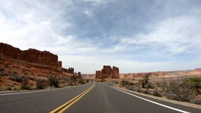 Drive through Arches National Park in Utah. Travel photography stock footage