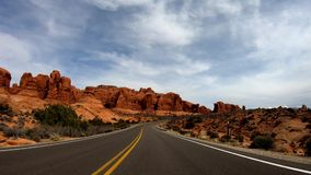 Drive through Arches National Park in Utah. Travel photography stock video footage