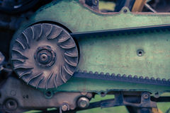 Drive belt on the sprocket in engine Stock Image