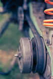 Drive belt on the sprocket in motorcycle Stock Photo