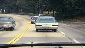 Drive through Bristol County. Bristol County, Massachusetts, United States of America - circa 1970: point of view tourist of driving car in Bristol County stock video