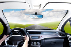 Drive a car. In a green panorama Royalty Free Stock Image