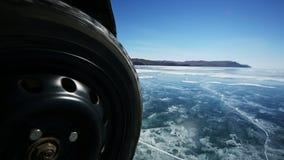 Drive the car across the frozen Lake Baikal stock video