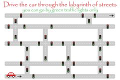 Drive car through labyrinth of streets, go by green traffic lights, fun education game for kids, preschool activity for children,. Maze task for the development stock illustration
