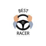 Drive a car sign. Best racer banner. Diver design element with h. Ands holding steering wheel. Vector icon royalty free illustration