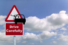 Drive carefully. Road sign, concept image to help promote safe driving stock photo