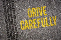 Drive carefully. Lane with the text Drive carefully royalty free stock image