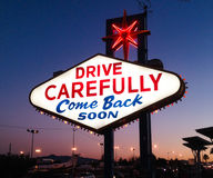 Drive Carefully sign. Come back soon, drive carefully sign exiting Las Vegas royalty free stock photos