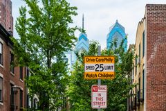 Drive CarePhilly Warning Sign in Philadelphia Royalty Free Stock Photography