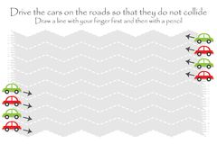Drive the cars on the road in two directions, zigzag handwriting practice sheet, kids preschool activity, educational children vector illustration