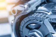 The drive chain of motorcycle Stock Photos