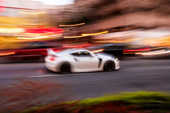Drive city driver. Car on the city streets - motion blur Royalty Free Stock Photography