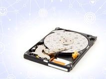 Drive del hard disk, dentro di HDD isolato su fondo bianco fotografie stock