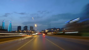 Drive at Dusk Time Lapse. Time lapse movie of a car drive on a highway just after sunset. Shot in Istanbul Turkey, car goes on the E5 highway on the Anatolian stock video footage