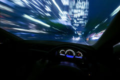 Drive fast at night royalty free stock photo