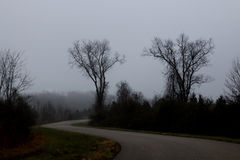 A drive through the fog. Winding road through morning fogs Royalty Free Stock Photography