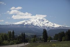 Drive from Hood River, Oregon to Mount Hood. Photo of the the road from Hood River, Oregon to Mount Hood royalty free stock images