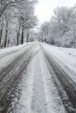 Drive on ice and snow. Dangerous street with ice and snow Stock Photos