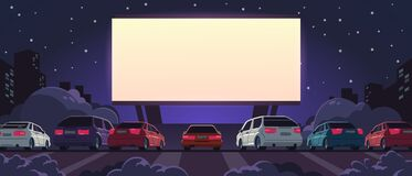 Free Drive-in Cinema. Open Space Auto Theater With Cartoon Glowing White Screen And Car Parking, Outdoor Movie At Night Stock Photos - 194299023