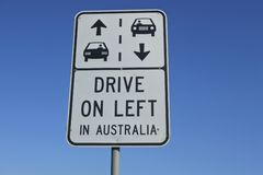 Drive on the left road sign. Road sign reads: Drive on the left in Australia against blue sky. Copy space stock images