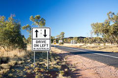 Drive On Left Warning Road Sign Royalty Free Stock Photography