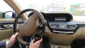 Drive luxury car Mercedes W221 AMG stock footage