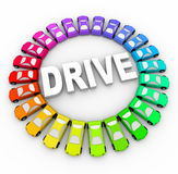 Drive - Many Colorful Cars in Circle. Many colorful cars in a circle around the word Drive vector illustration