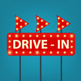 Drive in marquee sign. Retro vector illustration Stock Image