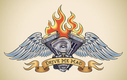Drive Me Mad. Old-school styled tattoo of a flaming motorcycle engine with steel wings. Editable vector illustration Royalty Free Stock Photo