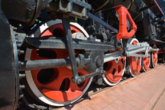 Drive mechanism of the wheels of an old steam locomotive Royalty Free Stock Images