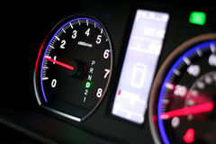 Drive mode dashboard. Close-up of a car dashboard in drive D mode Royalty Free Stock Image