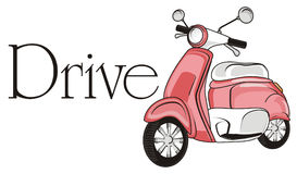 Drive with moped. Pink moped with word drive Royalty Free Stock Photos