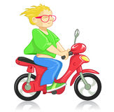 Drive motorcycle. Man on the funny motorcycle stock illustration
